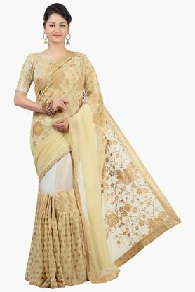 Womens Embroidered Georgette Saree